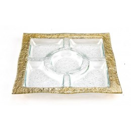 Badash Crystal EV47G Gold 13 inch Five Section Serving Tray