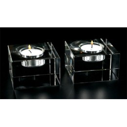 Badash Crystal Pair of Dakota T Lite Block Candlestick Holders