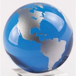 Badash Crystal Blue And Silver Globe No Base