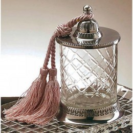 Badash Crystal Jar with Tassle Candleholder