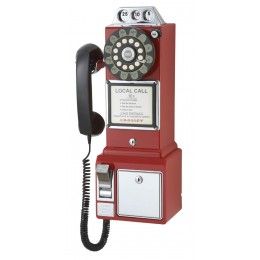 Crosley CR56-RE 1950s Classic Pay Phone Red