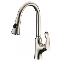 Dawn AB063292BN Brushed Nickel Single Lever Pull Out Kitchen Faucet