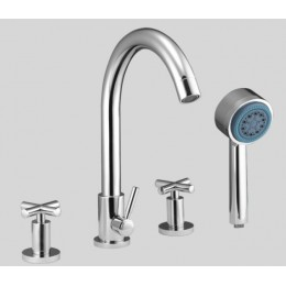 Dawn D032503C 4-Hole Tub Filler / Personal Handshower / Cross Handles