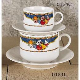 European Gift 0154C Harvest Design 8.5 oz Cappuccino Cups Saucers(4)