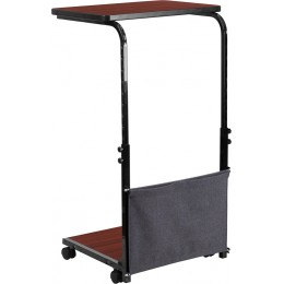 Flash Furniture MT-6288-1-GG Mobile Sit-Down, Stand-Up Mahogany Computer Desk with Removable Pouch (Adjustable Range 27