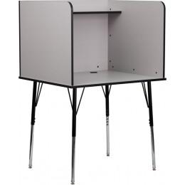 Flash Furniture MT-M6221-GREY-GG Study Carrel with Adjustable Legs and Top Shelf in Nebula Grey Finish
