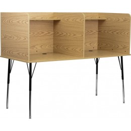 Flash Furniture MT-M6222-OAK-DBL-GG Double Wide Study Carrel with Adjustable Legs and Top Shelf in Oak Finish