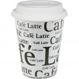 Konitz Travel Cafe Latte Writing Mug in White w/ Lid Set of 2
