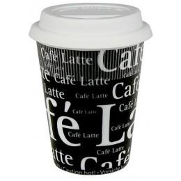 Konitz Travel Cafe Latte Writing on Black Mug w/ Lid Set of 2