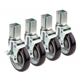 Krowne 28-174S 1.25in Square Post Shelving Caster, 5in Wheel, Set of 4