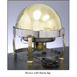 Legion F7D708B Round Built-In Electric Chafer with Rollback Cover and Luxor Legs Brass 2 Gallon
