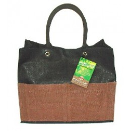 Fully laminated Jute Bags with pockets Black/Brown