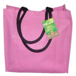 Fully laminated Jute Bags with pockets Pink