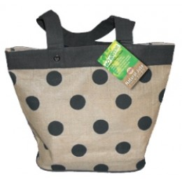 Fully laminated Jute Bags with pockets Black Dots