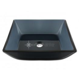 Polaris Square Black Glass Vessel Bathroom Sink