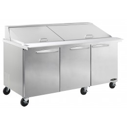 Kool-It KSTM-72-3 Stainless Steel Megatop Sandwich Prep Table, 72.4