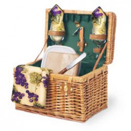 Napa-Botanica 12.5in Willow Basket w/ Wine & Cheese Service for 2