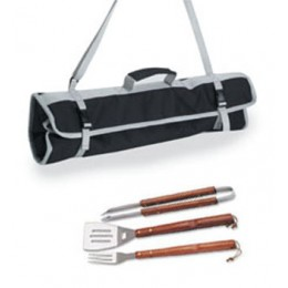 Picnic Time Collegiate 3pc BBQ Tool Set w/ Wooden Handles Black