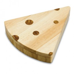 Picnic Time Wedge-Shaped Cheese Board with Stainless Cheese Tools